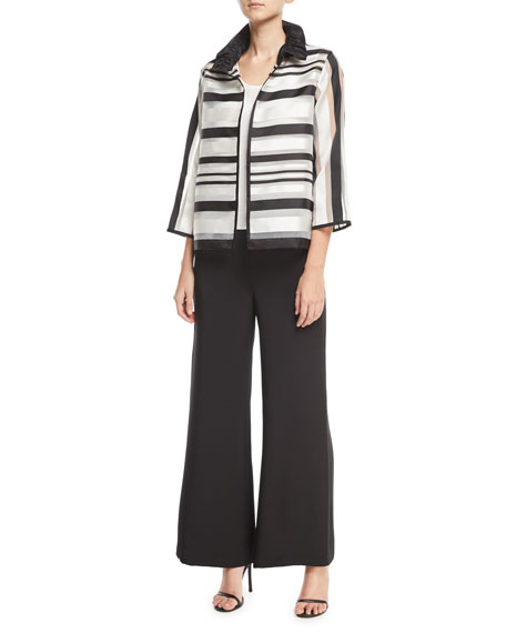 Ruched Satin-Striped Organza Jacket, Petite