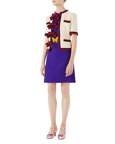 Wool-Silk Pintuck Dress with Belt and Matching Items