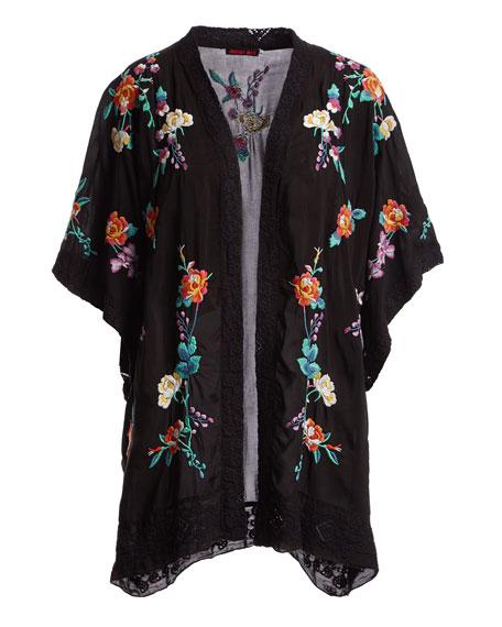 Classic Calla Embroidered Georgette Kimono, Plus Size