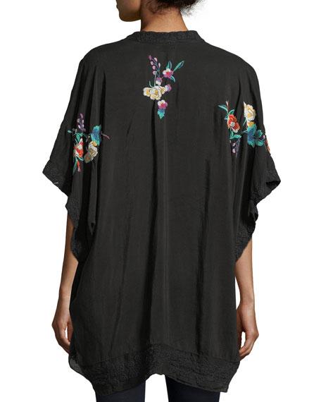 Classic Calla Embroidered Georgette Kimono, Petite
