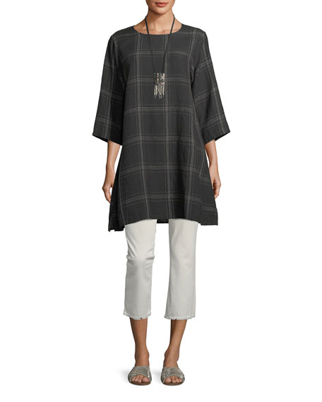 Organic Linen Plaid Tunic