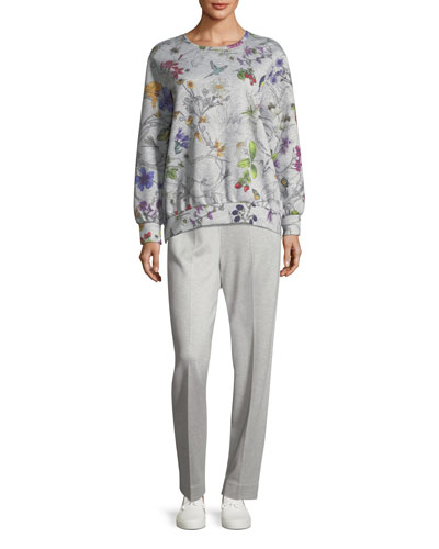 Long-Sleeve Floral-Print Bonded Jersey Sweatshirt and Matching Items