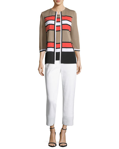 Unexpected Stripes 3/4-Sleeve Jacket  and Matching Items