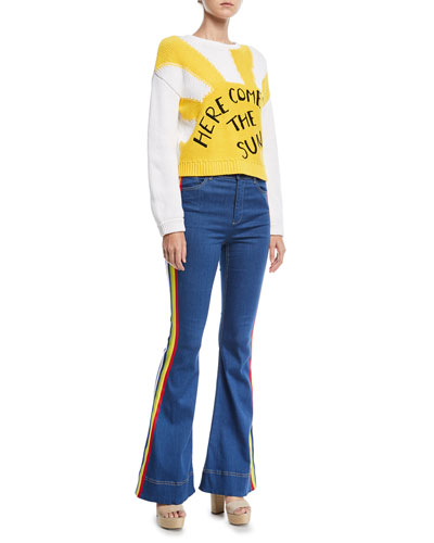 Kayleigh Bell-Bottom Jeans with Side Rainbow Stripes and Matching Items