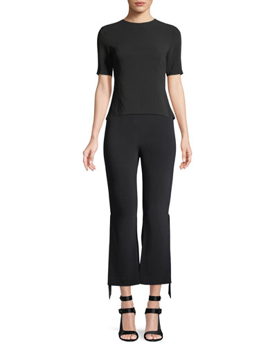Salma Cropped Pants with Ribbon Slit Ankles and Matching Items