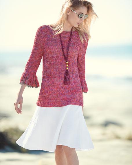 NIC+ZOE Bazaar Fringed-Cuffs Knit Top