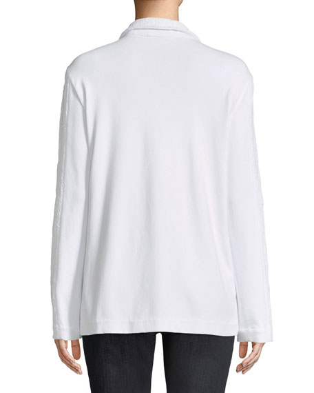 Floral Lace Two-Button Jacket, Petite
