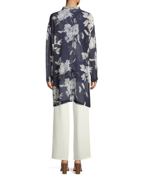 Floral Silk Georgette Tunic, Plus Size