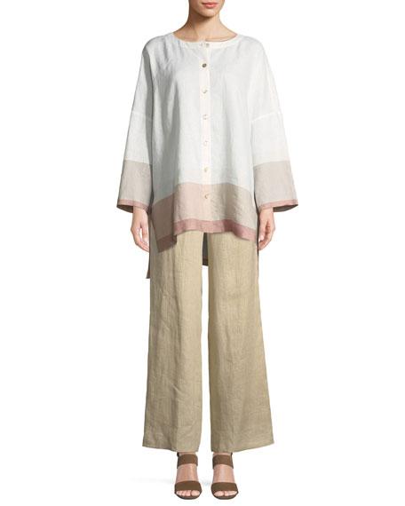 Bicolor-Trim Linen Boyfriend Tunic, Petite