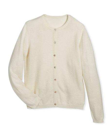 Button-Front Cashmere Cardigan, Size 2-6