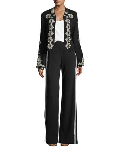 Bonita Side-Stripe Back-Zip Pants and Matching Items