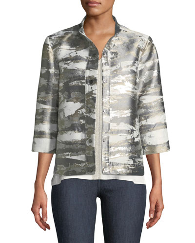 Graphic Metallic Short Jacket and Matching Items