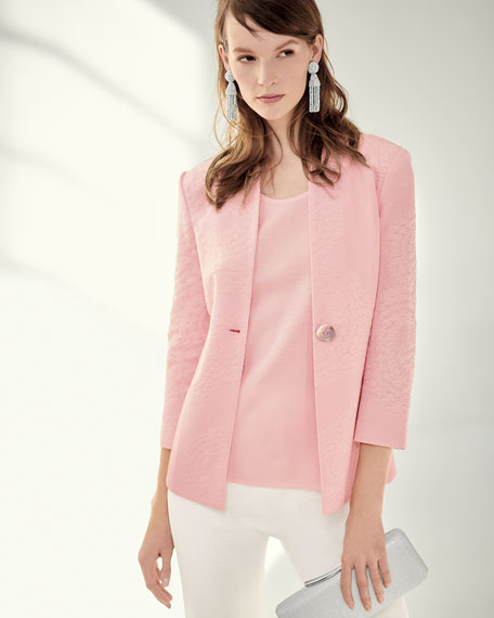 Textured One-Button Jacket
