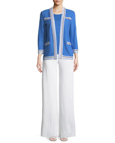 Contrast-Trim Textured Jacket, Plus Size