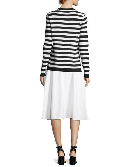 Embellished Long-Sleeve Striped Wool Pullover Sweater