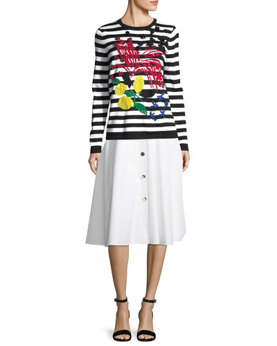 Snap-Front Cotton Pique Midi Skirt and Matching Items