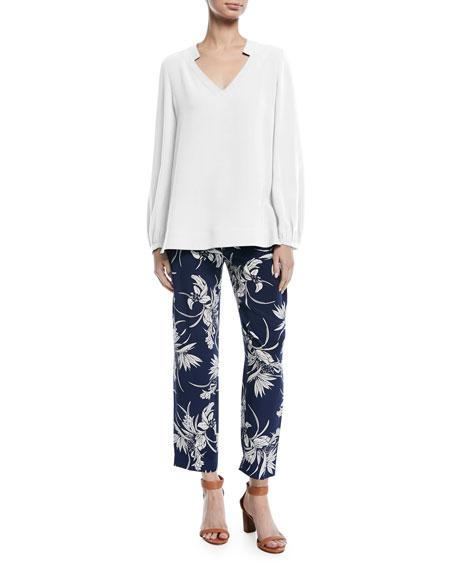 V-Neck Long-Sleeve Silk Tunic