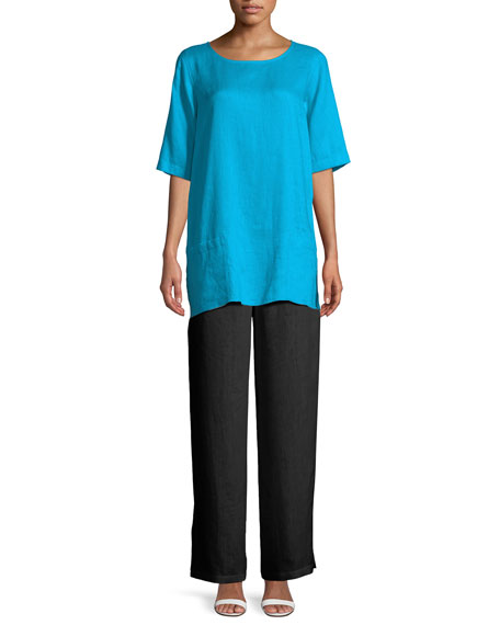 Tissue Linen Front-Pocket Tunic , Plus Size
