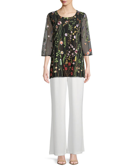 Garden Walk Embroidered Layered Tunic, Plus Size
