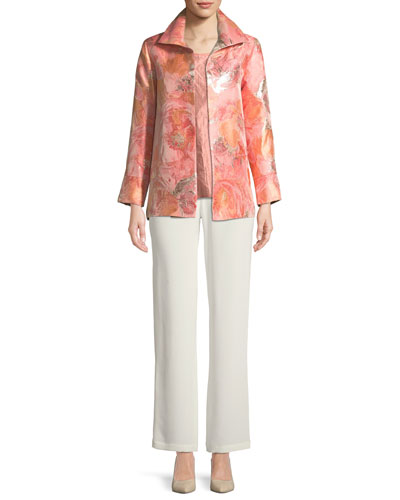 Silk Crepe Straight-Leg Pants  and Matching Items
