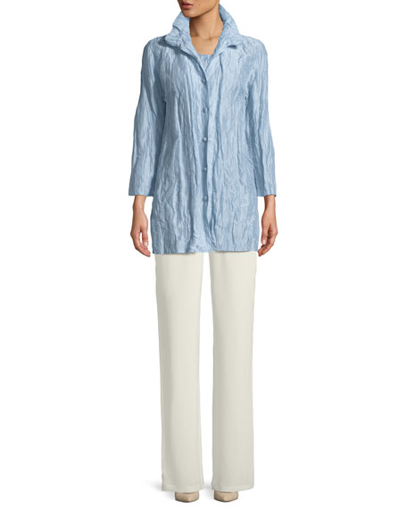 Ruched-Collar Crinkled Jacket , Petite