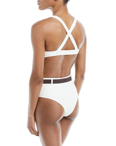 Josephine Cross-Back Solid Swim Top