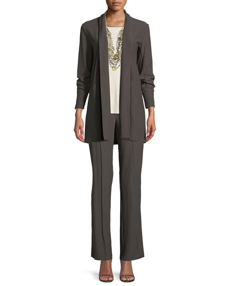 Stretch-Crepe Open-Front Long Jacket, Petite