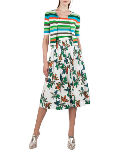 Tropical-Leaves Pleated Printed Midi Skirt and Matching Items