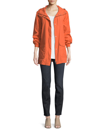 Washed Organic Cotton-Blend Hooded Anorak Jacket, Plus Size and Matching Items
