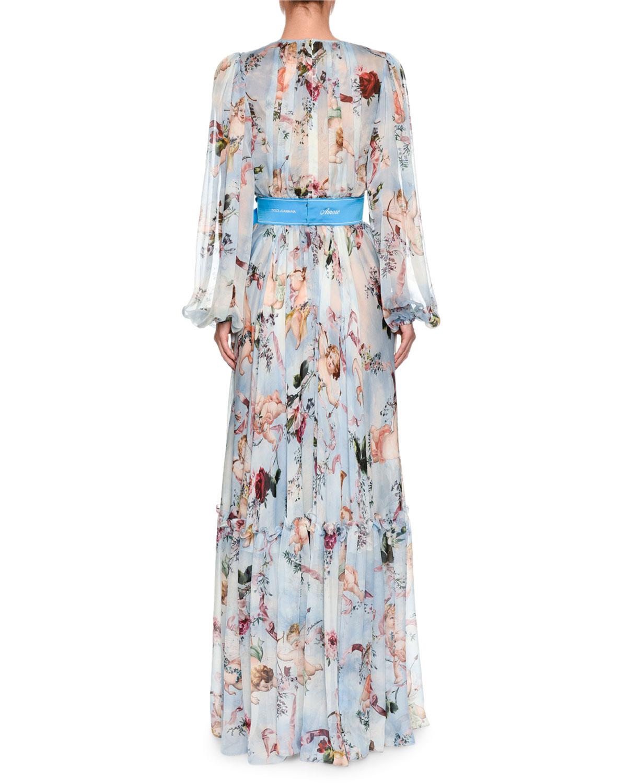 47766a2f Dolce & Gabbana Long-Sleeve Cherub-Print Chiffon Jumpsuit and Matching  Items & Matching Items | Neiman Marcus