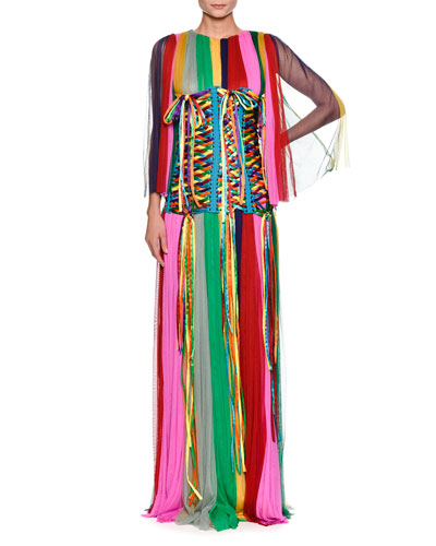 Long-Sleeve Rainbow-Striped Chiffon Gown and Matching Items