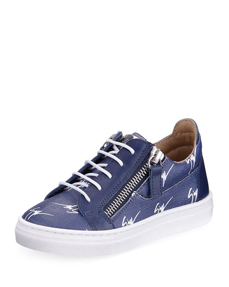 Logo-Print Leather Low-Top Sneaker, Toddler Sizes 6M-9T