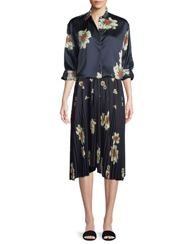 Gardenia Floral-Print Tie-Sleeve Silk Blouse and Matching Items