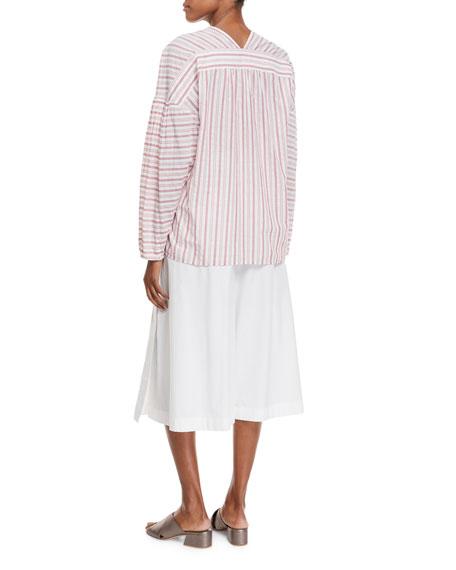 Variegated Stripe Long-Sleeve Pullover Top