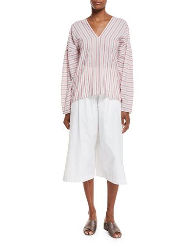 Variegated Stripe Long-Sleeve Pullover Top and Matching Items