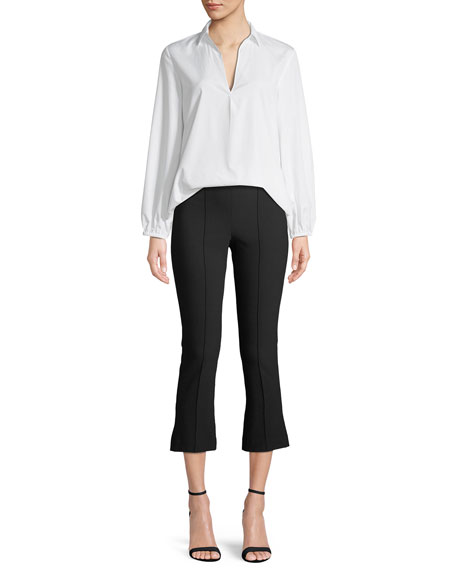 Swing-Front Pullover Long-Sleeve Top