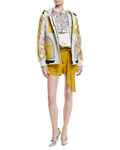 Cropped Zip-Front Sequin Paillette Jacket and Matching Items