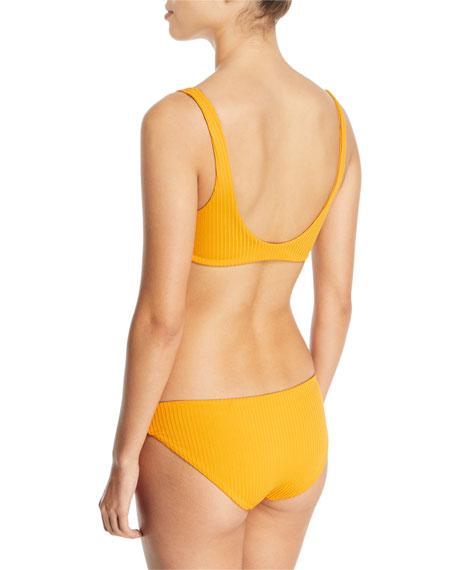 Rio Tie-Front Ribbed Swim Top - Mustard