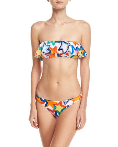 Star-Print Ruffle Bandeau Swim Top and Matching Items