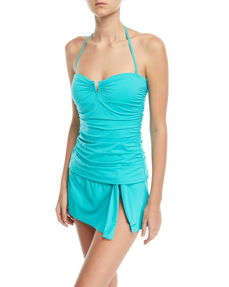 V-Wire Shirred Long Bandini Swim Top
