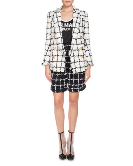 Double-Breasted Windowpane Tweed Jacket