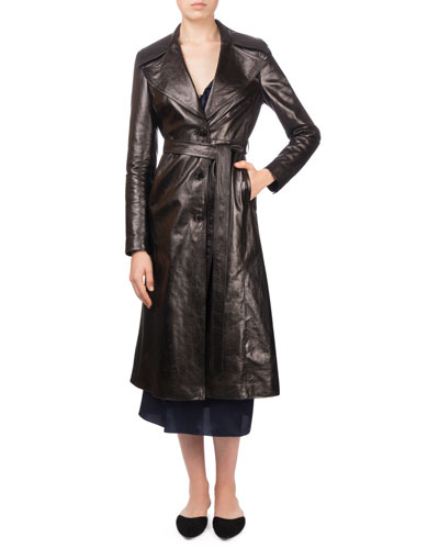 Indiana Button-Front Belted Leather Trench Coat and Matching Items