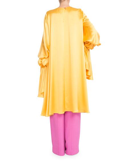 Long Poet-Sleeve Silk Satin Oversized Blouse