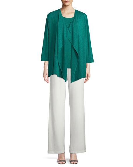 Gauze Knit Draped Cardigan, Plus Size