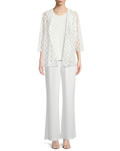 Sheer Draped Cardigan with Latticework Embroidery and Matching Items, Plus Size
