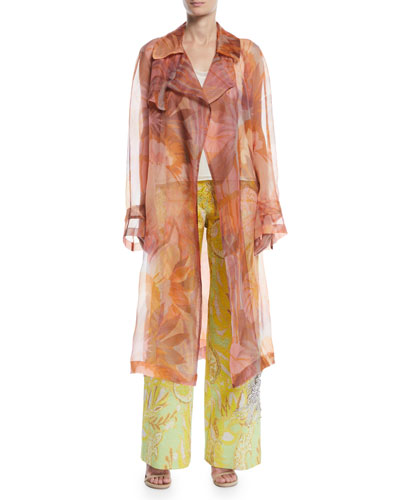 Rigy Organza Trench-Style Floral Jacket  and Matching Items