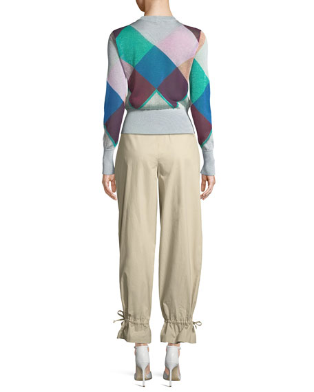 Multicolor Long-Sleeve Harlequin Knit Jacket