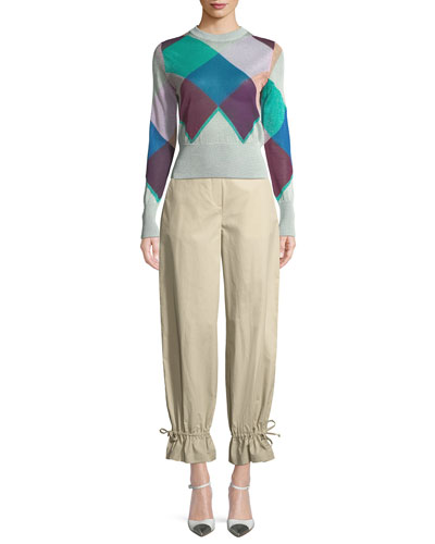 Flounce-Hem Tapered Cotton-Stretch Pants and Matching Items