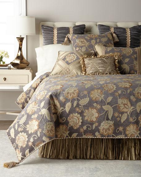 Dian Austin Couture Home Golden Garden Ruched Velvet European Sham