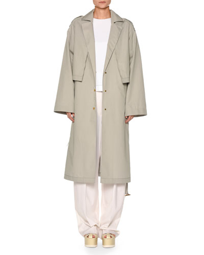 Snap-Front Belted Cotton-Silk Trench Coat with Cape Detail and Matching Items